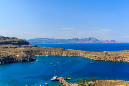 View of Lindos Bay at summer day, Rhodes. Greece. Europe. Stock Photo