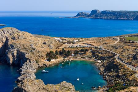 st pauls: Agios Pavlos Lindos Beach at Rhodes Island. Rodos, Aegean Region, Greece. Landscape.