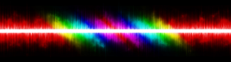 Abstract background. Digital sound music equalizer with wave colored rainbow lights. Vector illustration.