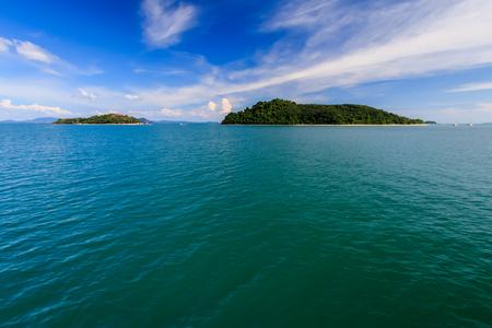 Seascape with islands on a sunny day. Andaman Sea, Thailand, Phuket.