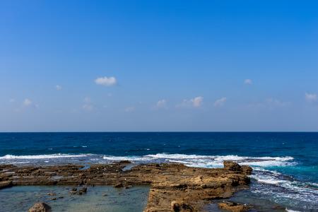 Coastline of Caesaria. Landscape of antique ruins. Stock Photo