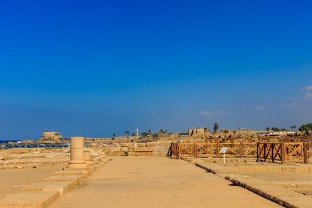 Ruins of Caesaria. Landscape of antique town.