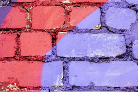Fragment of colored graffiti painted on a brick wall. Texture. Abstract background for design. Stockfoto - 111674936