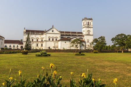 St. Catherine's Cathedral, Goa, India in sunny day. Catholic church of old town.
