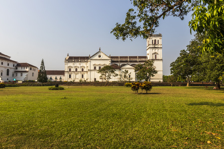St. Catherine's Cathedral, Goa, India in sunny day. Catholic church of old town. Standard-Bild - 113563521