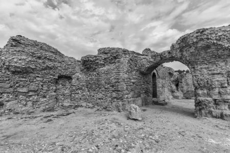 Ancient ruins of baths at tunisia, Carthage. Anthony terms. Monochrome. Stock fotó