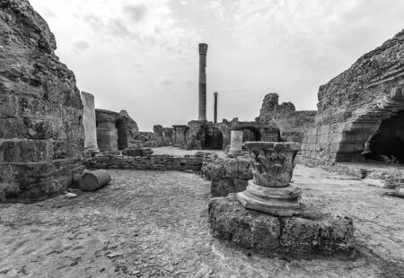 Ancient ruins of baths at tunisia, Carthage. Anthony terms. Monochrome.