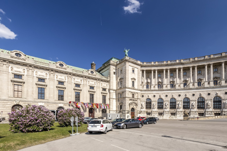 VIENNA, AUSTRIA - APRIL 22, 2019: Heldenplatz and Hofburg in Vienna. Official residence of the Austrian Federal President and seat of the OSCE.