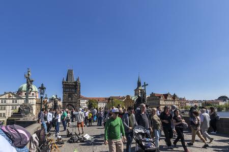 PRAGUE, CZECH REPUBLIC - APRIL 21: A view along Charles Bridge in Prague towards Old Town. Фото со стока - 122738314