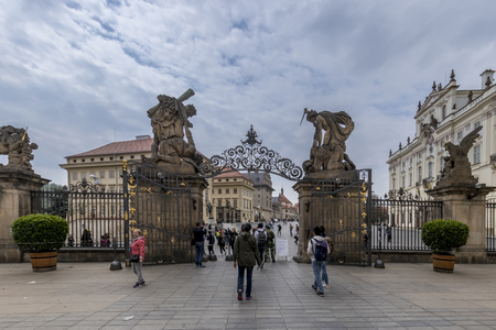 PRAGUE, CZECH REPUBLIC - APRIL 23: Entrance in Old Royal Palace in Prague, Czech Republic.