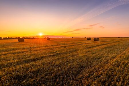 Scene of sunset on the field with haystacks in Autumn season. Rural landscape with cloudy sky background. Golden harvest of wheat. 写真素材
