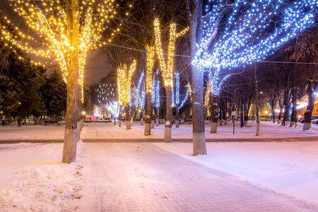 Zimowy park w nocy z dekoracjami świątecznymi, światłami, ławkami, ścieżką i drzewami.