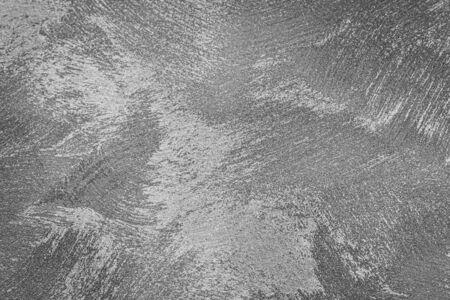 Texture di intonaco decorativo argento o cemento. Sfondo astratto per il design. Banner stilizzato d'arte con copia spazio per il testo. Archivio Fotografico