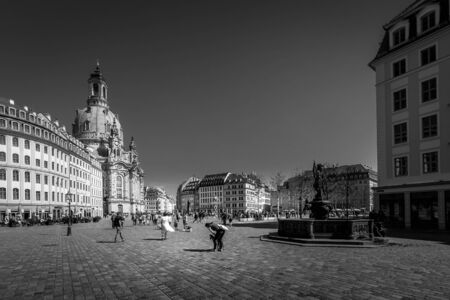 DRESDEN, GERMANY - APRIL 24, 2019 - The Dresden Frauenkirche. Lutheran church. Capital of the German state of Saxony. Black and white photo.