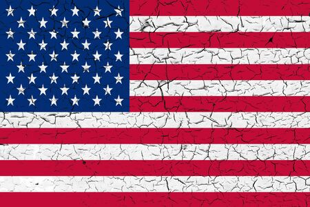 USA flag on peeling off cracked paint. The concept of crisis, default, economic collapse, pandemic, conflict, terrorism or other problems in the country. Abstract disaster symbol.