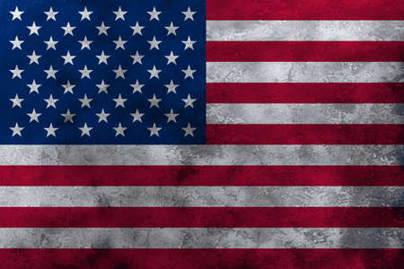 USA flag on grunge concrete wall background.