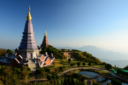 doi: Pagoda on the top of Doi Inthanon, Chiang Mai, Thailand. Stock Photo