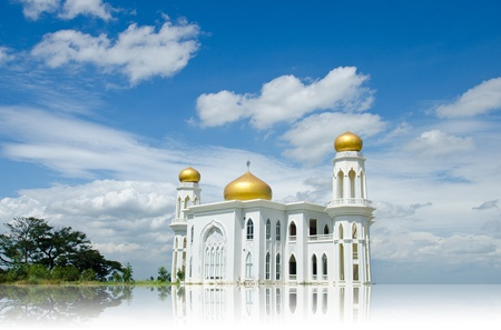 the blue domes: Mosque of Islam. Ayutthaya Province, Thailand.