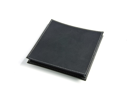 The black leather case on a white background. photo