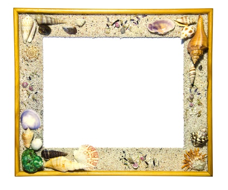 Wooden frame decorated with shells. Stock Photo