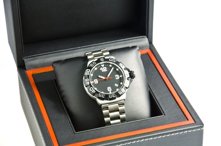 Wristwatch in the box. 스톡 콘텐츠