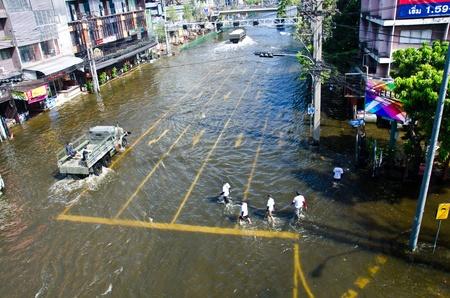 BANGKOK THAILAND � NOVEMBER 13: Scenes from Bangkok during its worst flooding in decades is a major disaster on November 13, 2011  in Bangkok, Thailand.