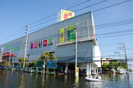 BANGKOK THAILAND � NOVEMBER 13: Shopping mall during its worst flooding in decades is a major disaster on November 13, 2011 in Bangkok, Thailand.