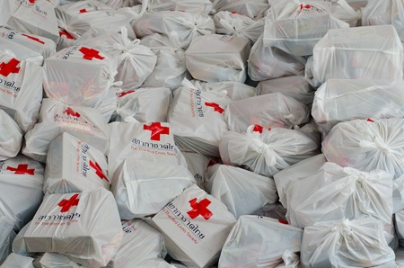 BANGKOK, THAILAND-NOVEMBER 27: Bags of Red Cross supplies that are needed to help the victims after the heaviest monsoon rain in 50 years in the capital on November 27, 2011 , Red Cross Bangkok, Thailand.