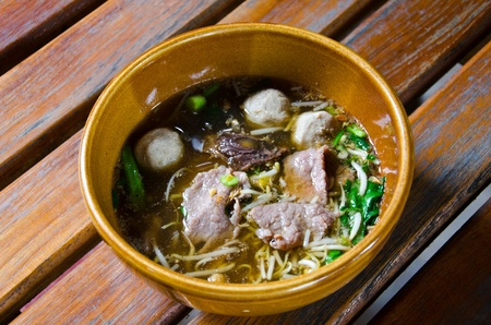 buckwheat noodle: Asian soup with noodles and meat ball. Stock Photo