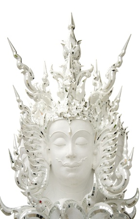 deities: Statues of Buddhist deities on a white background.