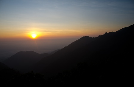 Sunrise on high peaks to the north of Thailand. Stock Photo - 11791904