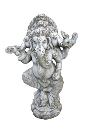 Ganesha carved in granite on white background. photo