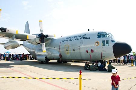 BANGKOK - JANUARY 14 : C-130 on display at Don Muang Airshow, January 14, 2012, Don Muang Airport, Bangkok, Thailand.