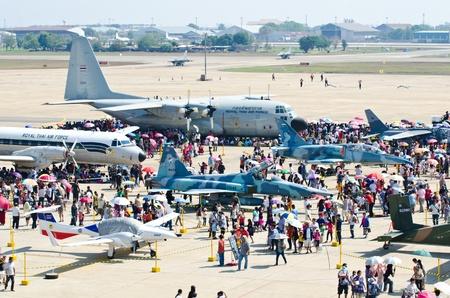 BANGKOK - JANUARY 14 : Scenes of aircraft on display at Don Muang Airshow, January 14, 2012, Don Muang Airport, Bangkok, Thailand.   Stock Photo - 11952037