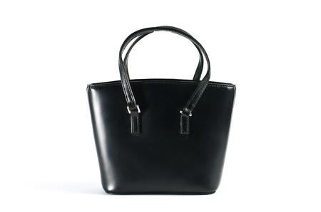 Handbag leather  black on white background.