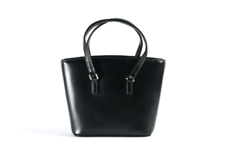 Handbag leather  black on white background.