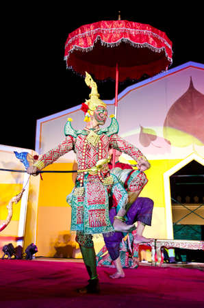 LOPBURI, THAILAND - FEBRUARY 19 : The unidentified actor perform Thailand Dancing art called �Khon� that high class of dance at the historic on The age of King Narai the Great Fair, on February 19, 2012 in Lopburi, Thailand.