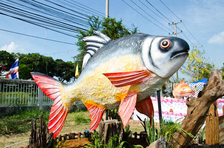 model fish: Statue of  Red tailed or Tinfoil Barb , Scientific name Barbonymus altus  Stock Photo