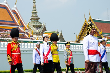 BANGKOK - APRIL 9: Prime Minister of Thailand to participate in the Royal cremation of Her Royal Highness Princess Bejaratana Rajasuda at Sanam Luang on April 9, 2012 in Bangkok, Thailand Stock Photo - 13097036
