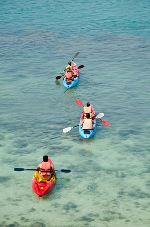 traveler kayaking in the Gulf of Thailand  스톡 콘텐츠