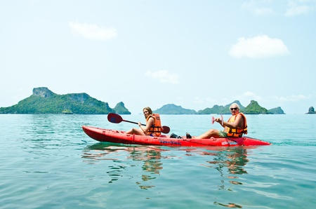Traveler kayaking in the Gulf of Thailand. Angthong National Marine Park, Suratthani province, Thailand.