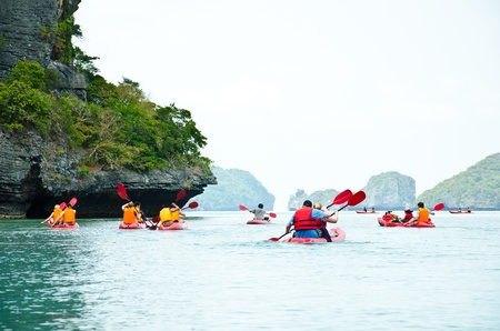active lifestyle: Traveler kayaking in the Gulf of Thailand. Angthong National Marine Park, Suratthani province, Thailand.