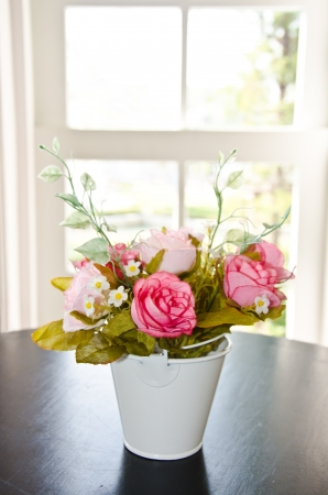 Photo of colorful flowers in flower pots at window Stock Photo - 13773023