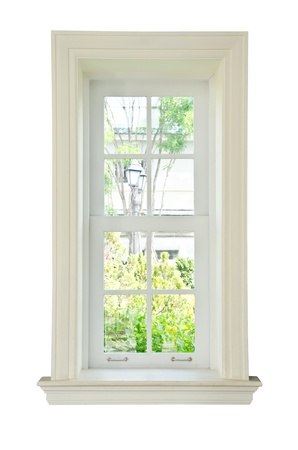Wood glass window frame isolated on the white background 写真素材