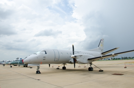 BANGKOK - JULY 2 : Saab 340 on display at 1912-2012 Centennial of RTAF (Royal Thai Air Force) Forefathers