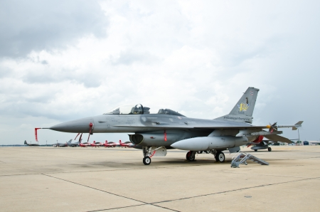 forefathers: BANGKOK - JULY 2 : F-16 on display at 1912-2012 Centennial of RTAF (Royal Thai Air Force) Forefathers
