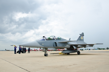BANGKOK - JULY 2 : JAS 39 Gripen  on display at 1912-2012 Centennial of RTAF (Royal Thai Air Force) Forefathers