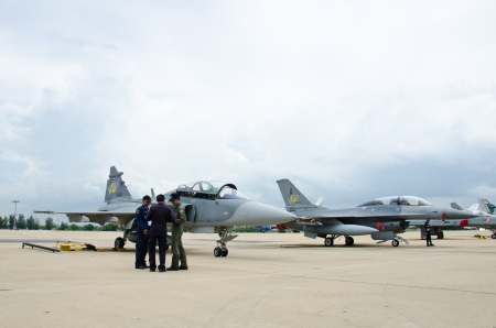 BANGKOK - JULY 2 : Fighter aircraft on display at 1912-2012 Centennial of RTAF (Royal Thai Air Force) Forefathers