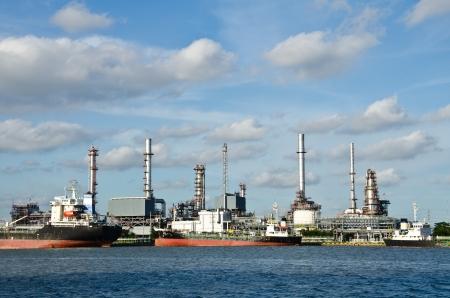 Oil Refinery,  Chao Phraya river, Thailand Stock Photo