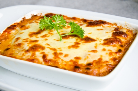 fresh lasagna dish in a baking dish Stock Photo - 15209439